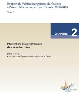 Mines couverture rapport 2009