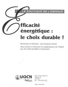 Politique énergétique mémoire page titre