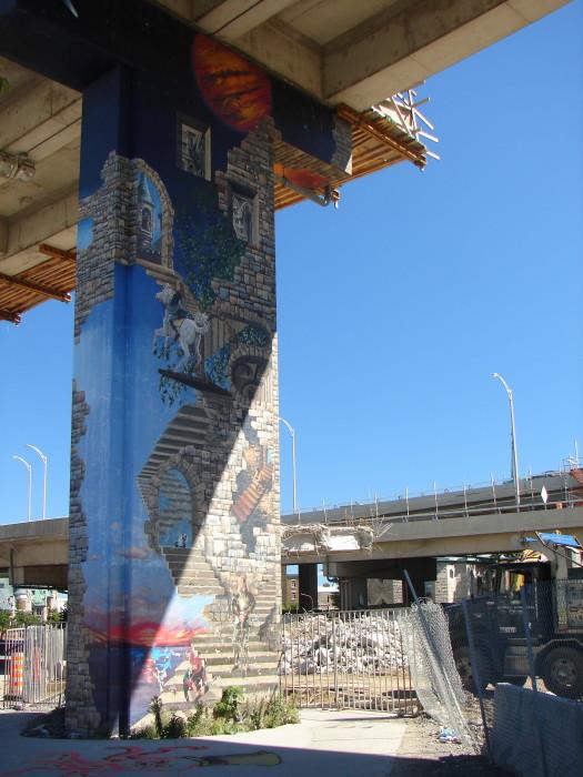 Démolition de l'autoroute Dufferin à l'été 2007