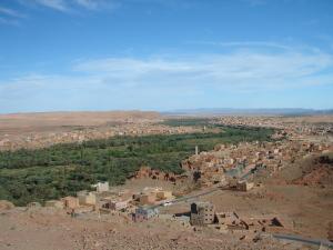 Palmeraie et cultures dans un village au pied des Atlas au Maroc